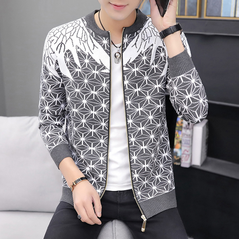 Winter Polyester Korean Cardigan Men Casual Coat Featured Printing Men's Coat Sweater O-neck Long Sleeve Cardigans Male Clothing