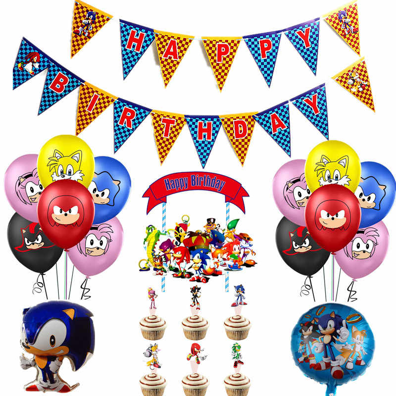 Nieuwe Sonic The Hedgehog Ballonnen Super Hero Game Fans Folie Ballon Jongen Gelukkige Verjaardag Banner Party Kids Toy Decor Supplies