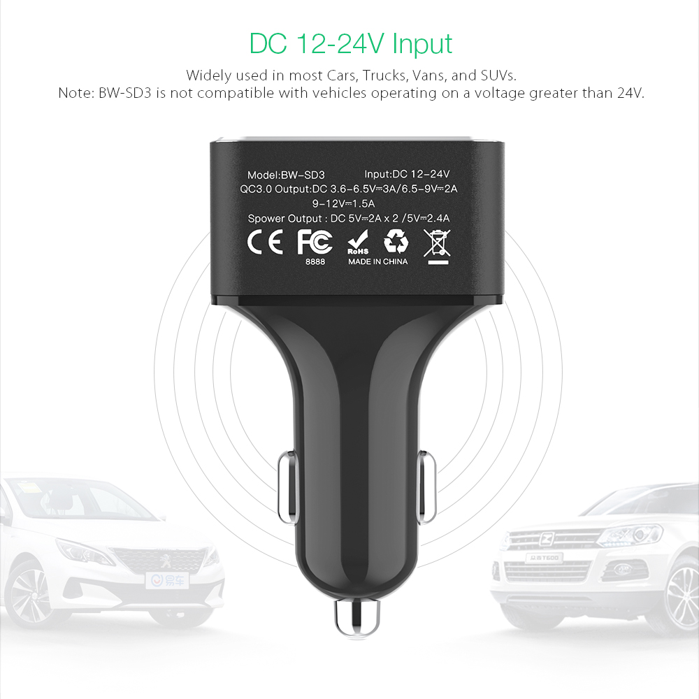 Image 4 - BlitzWolf USB Car Charger 4 USB Ports 50W QC3.0 Fast Charging For TDC 12V 24V For universal Mobile PhoneCar Chargers   -