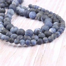 Frosted Blue Stone Natural?Stone?Beads?For?Jewelry?Making?Diy?Bracelet?Necklace?4/6/8/10/12?mm?Wholesale?Strand