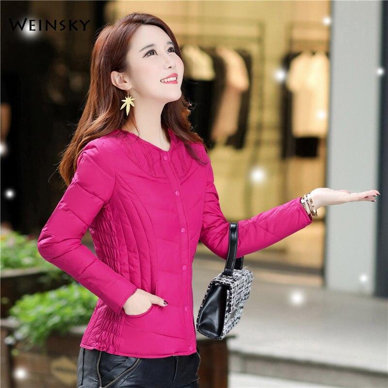 Winter Women Thin Down Jacket White Duck Down Jackets Long Sleeve Warm Slim Coat Parka Female Outwear