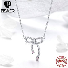 Bisaer 925 Sterling Silver Clear Cubic Zirconia Bowknot Choker Necklaces for Women Fashion Jewelry Bijoux Female Gifts GAN040