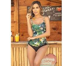 Bikini Plus Size Swimwear Women Swimsuit Sexy Tankini Set Two-piece Suit 2020 Ruched Print Padded Bandage Bathing Suit Swimdress floral padded plus size swimdress