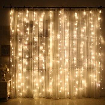 Coversage Fairy Curtain Garland Light 3x3M 3x2M 4.5x3M 2x2M Christmas Decorative LED String Xmas Party Garden Wedding Lights