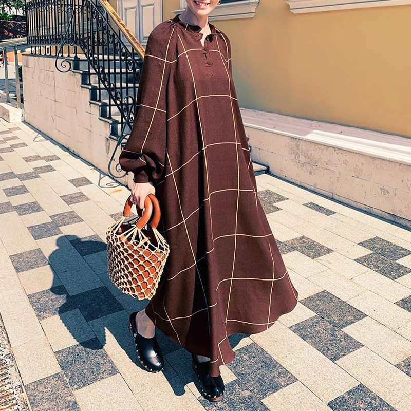 Elegante largo Maxi vestido de las mujeres de manga larga túnica Vestido de playa o vacaciones 2021 VONDA Vintage Plaid Vestidos largos Vestidos S-5XL