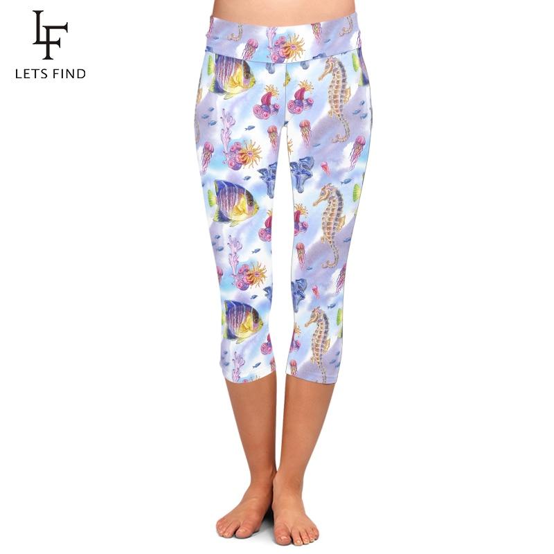 LETSFIND Plus Size Women Workout Leggings New Sea Animals, Seahorses Pattern Milk Silk Print Slim Elastic Capri Leggings