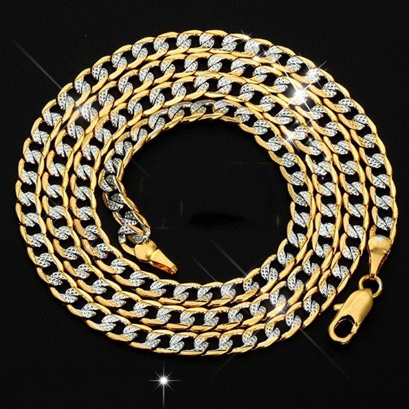 Men S Hiphop Necklace Silver Plated 18k Gold Cuban Link Chain Necklace For Male Jewelry 18inch 26inch 2020 New Year Gifts Chain Necklaces Aliexpress