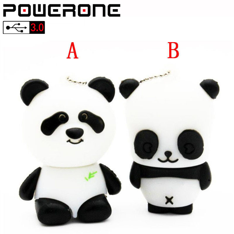POWERONE USB 3.0 Panda Usb Flash Drive Cartoon Pendrive 4GB 8GB 16GB 32GB 64GB  Bear Panda Pendrives Memory Stick