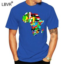 Men Funny T Shirt Women Cool tshirt Africa map t-shirt African Country Flag Collage t-shirt(China)