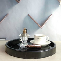 Black Marble Tray Home Soft Decoration Model Room Decoration Cosmetic Bathroom Storage Tray