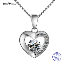 Shipei Tiny Heart Necklace Silver 925 Jewelry for Women Romantic Love Pendant With Sapphire Valentines Gift