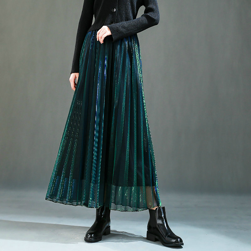 Summer Discolor Shine Gradient Pleated Long Gauze Skirt Metallic A-line Elegant Gradient Purple Green Maxi Long Mesh Skirts