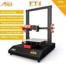 Anet-Impressora 3D ET4/ET4 Pro, montagem em 10 minutos, tela touch screen colorida de 2,8 polegadas imprime/pausa, com auto nivelamento e detecção de filamento