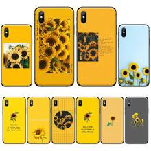 Aesthetic art Yellow Sunflower Soft black Phone Case For iphone 4 4s 5 5s 5c se 6 6s 7 8 plus x xs xr 11 pro max nand pro box ip nand pro for iphone 4 4s 5 5c 5s 6 6p supported for ipad 2 3 4 5 6 supported