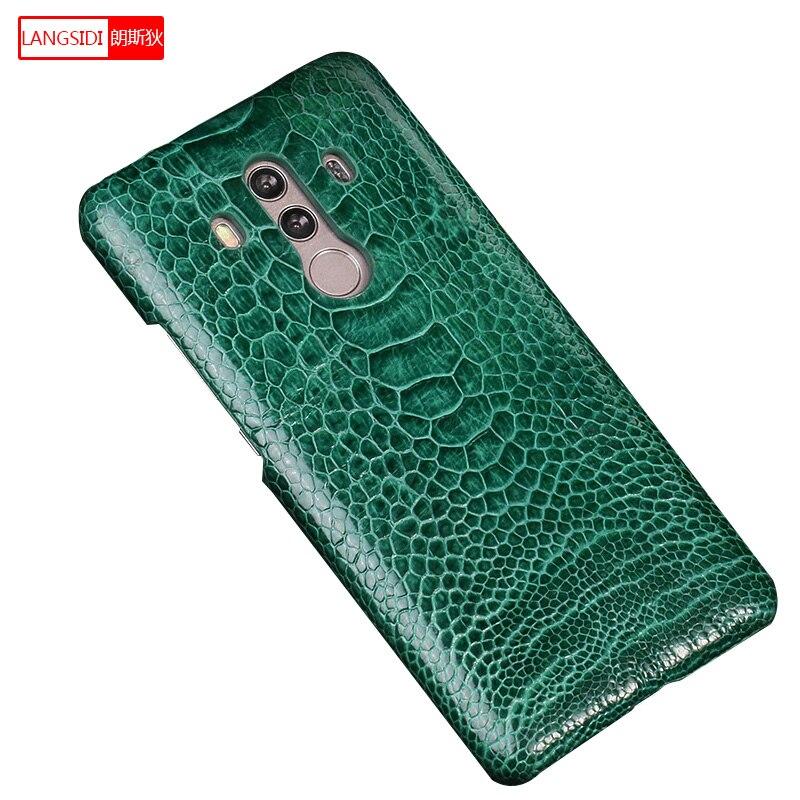 Coque de téléphone pour Honor 10 autruche naturelle en cuir véritable anti-coup Capa couverture arrière pour Huawei Nova 3 Mate RS Honor 10 lite P10