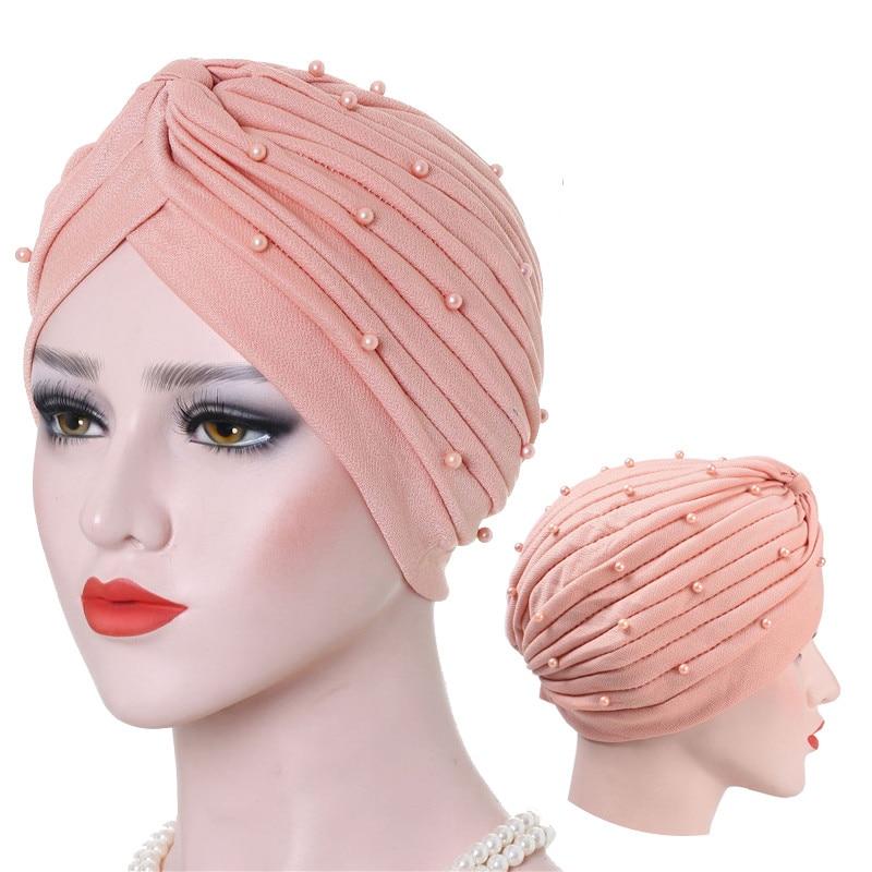 Muslim Women Head Scarf Soft Cotton Beading Turban Crinkle Hijab Femme Musulman Ready To Wear Islamic Wrap Turbante Bonnet