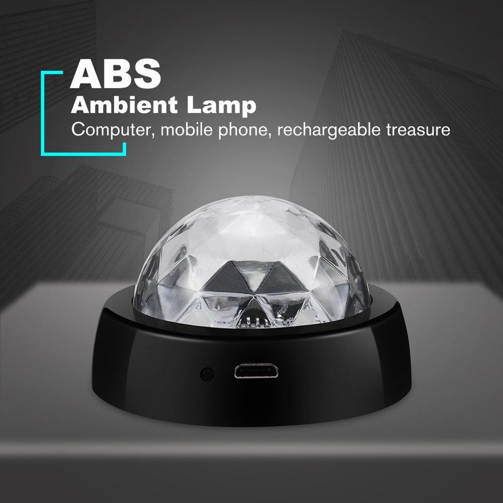 LED USB Car Atmosphere Light Sound Control Crystal Magic Ball Disco Lamp RGB Colorful Music Sound Light DJ Light
