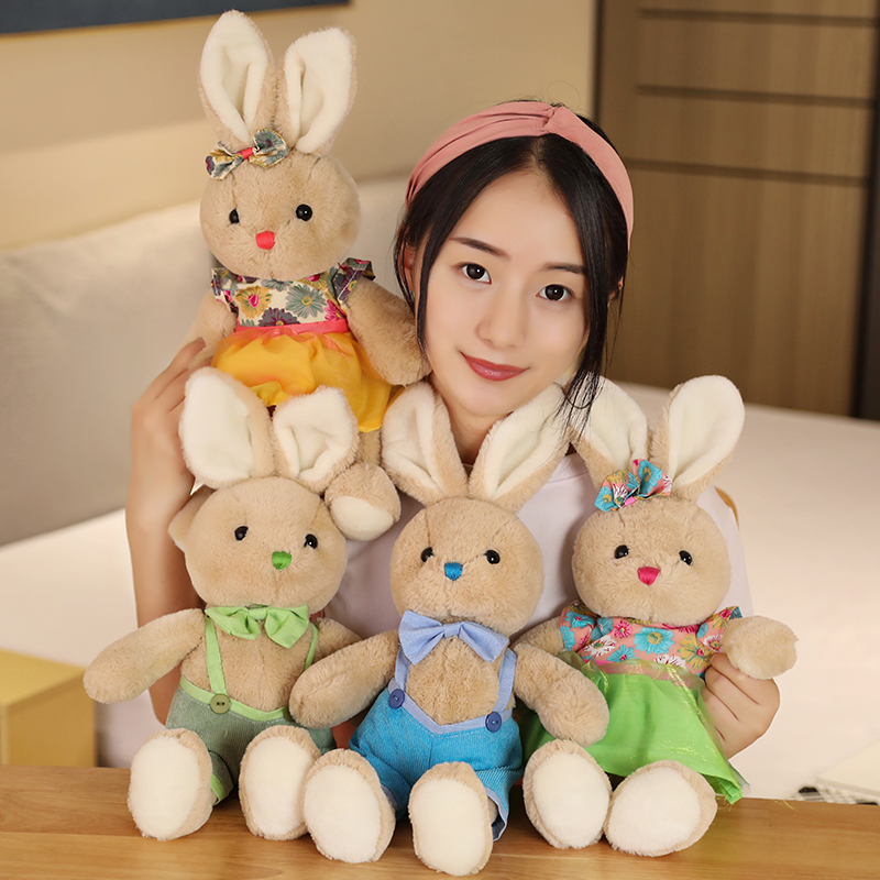 2020 New Lovers Rabbit Plush Toy Braces Skirt Bow Tie Rabbit 40cm Cute Birthday Christmas Present 1pcs/pack Free Shipping