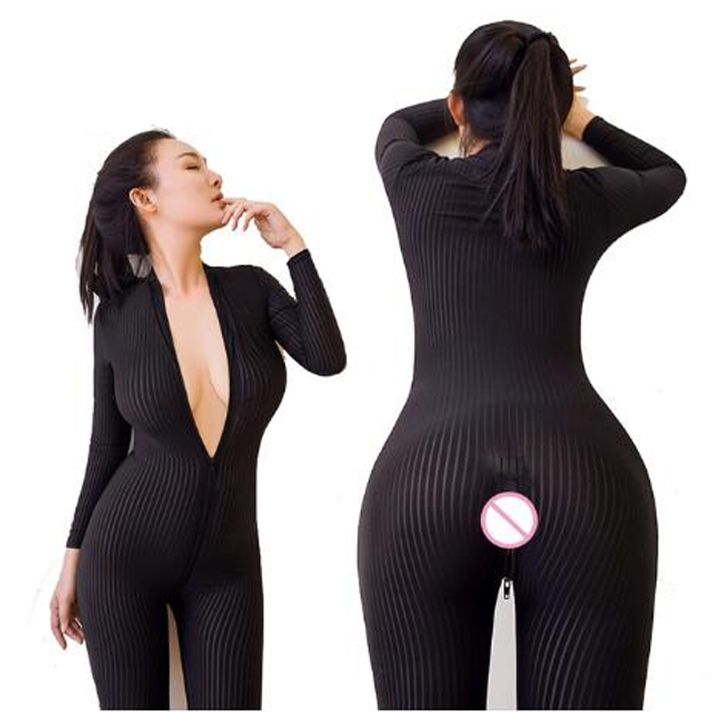 Open Crotch Black Striped Sheer Bodystocking Bodysuit Erotic Lingerie For Women Sexy Double Zipper Long Sleeves Jumpsuit