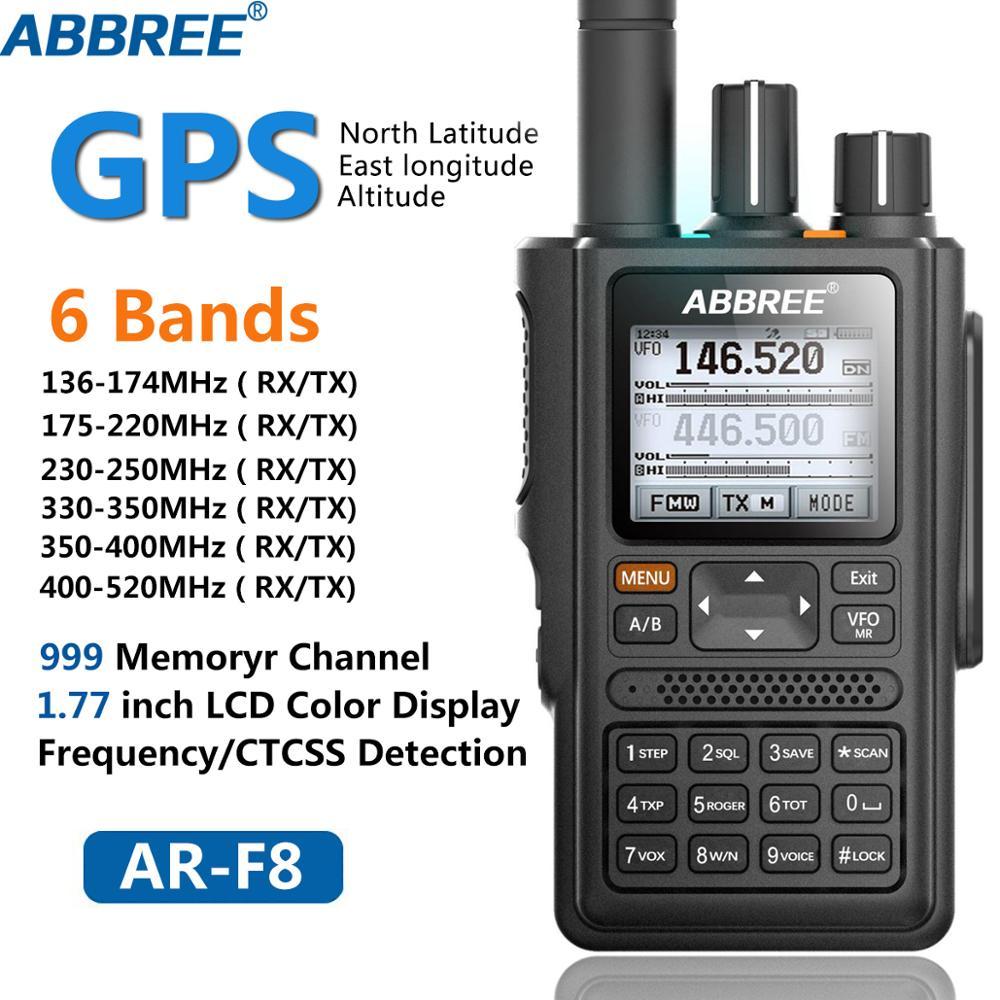 ABBREE AR-F8 GPS 6 Bandas (136-520MHz) VOX DTMF 8W 999CH Multi-funcional SOS LCD a Cores Amateur Ham Two Way Radio Walkie Talkie