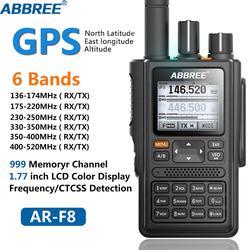 ABBREE AR-F8 GPS 6 полос (136-520 МГц) 8 Вт 999CH многофункциональная VOX DTMF SOS ЖК Цветная Любительская двухсторонняя рация