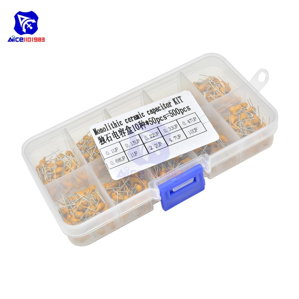 Diymore 500 шт./лот 10 значений Монолитные керамические конденсаторы 0,1 мкФ-10 мкФ обычно используемые электронные компоненты ассорти