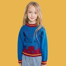 Bongawan/свитер для девочек модная повседневная одежда синего цвета в полоску с изображением кролика для детей 3-8 лет на осень и зиму, Рождественская одежда