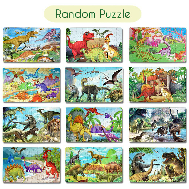 60Pcs Wooden Puzzles Dinosaur Toys Big Dinosaur Egg Packaging Puzzle Jigsaw Board Animal 3D Puzzle Educational Toys Kids Gifts 4