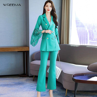 wreeima 2019 red Woman Set Suit Blazer Sets Lace Stitching Flare Sleeve Long Suit Coats mid Waist Length pants 2 Piece Set Women