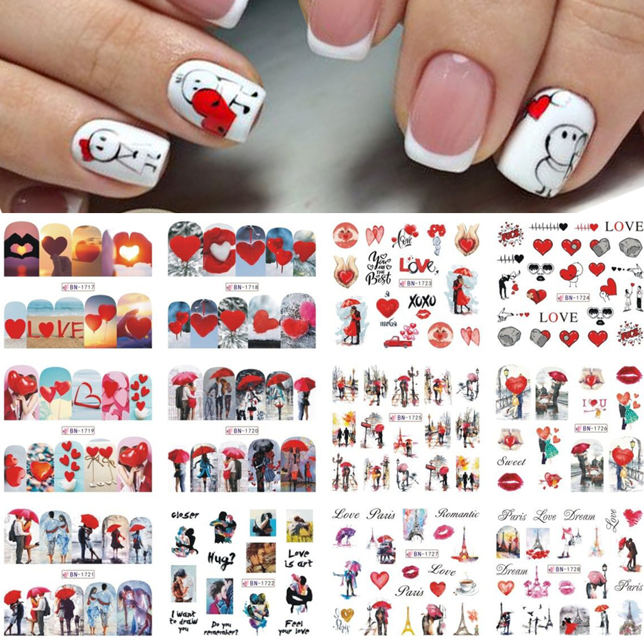 12pcs Valentines Manicure Love Letter Flower Sliders for Nails Inscriptions Nail Art Decoration Water Sticker Tips GLBN1489-1500 11