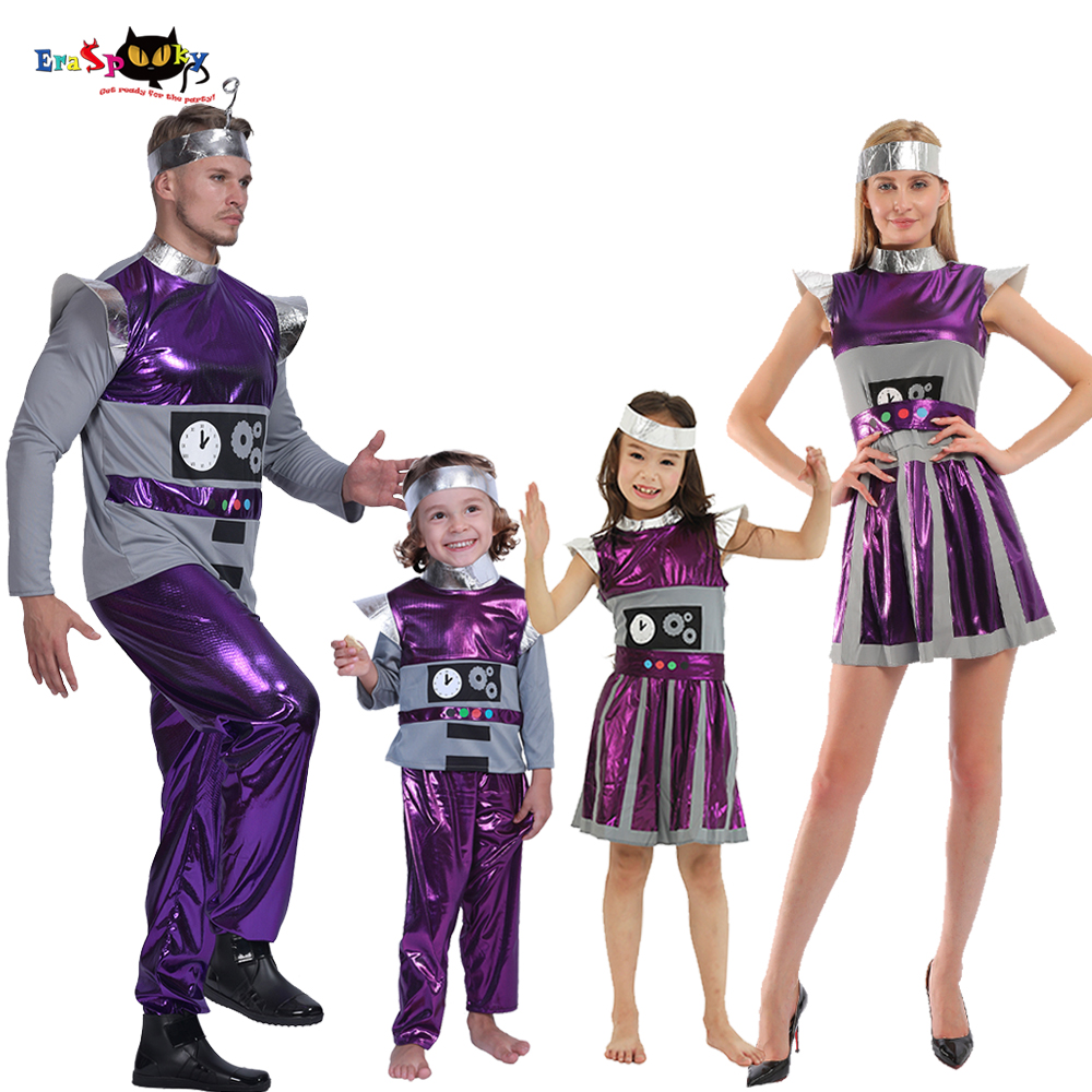 Eraspooky Retro Purple Time Robot Cosplay Adult Alien Astronaut Outfit Halloween Costume For Kids Party Group Couple Fancy Dress