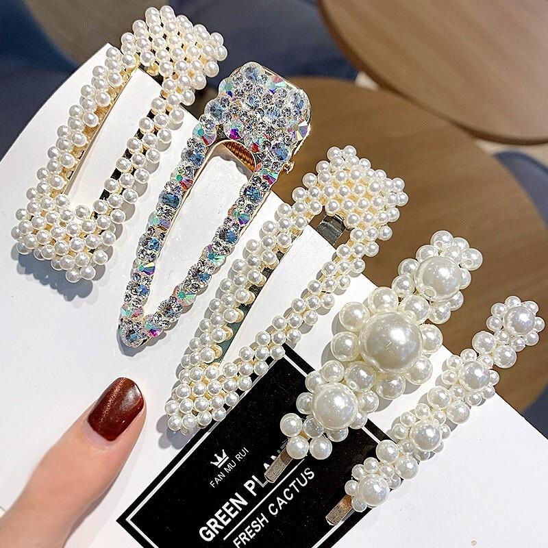 Ins1Set Women GirlsDiamonds Elegant Pearls Hair Clips Sweet   Headwear   Hair Ornament Hairpins Barrettes Headband Hair Accessories