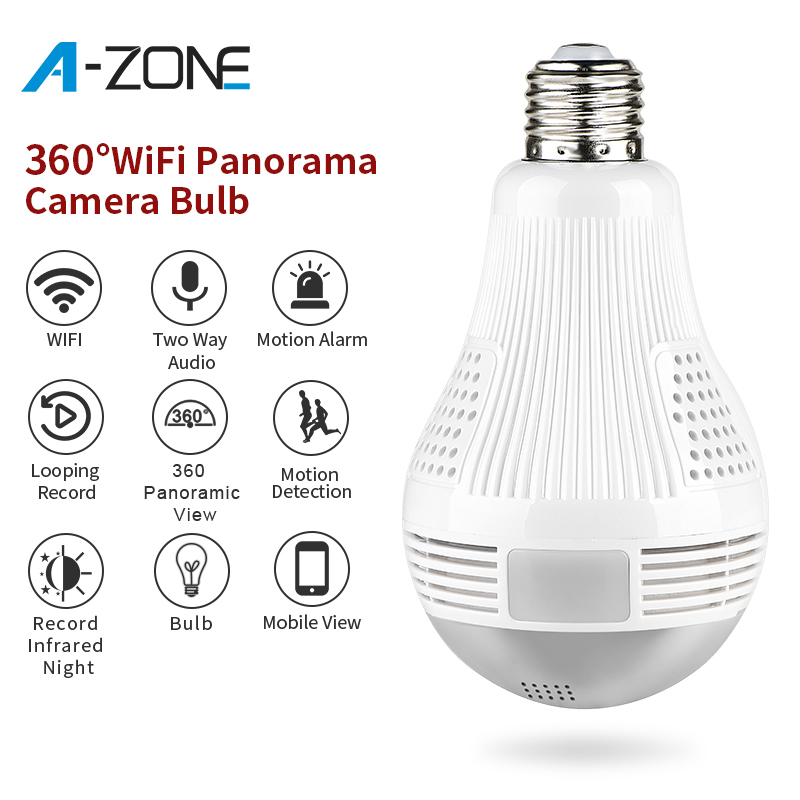 A-ZONE HD 1080P Home Security IP Wifi Camera 360 Panoramic LED Light Bulb Camera Wireless 2.0MP Surveillance Video Lamp Camera