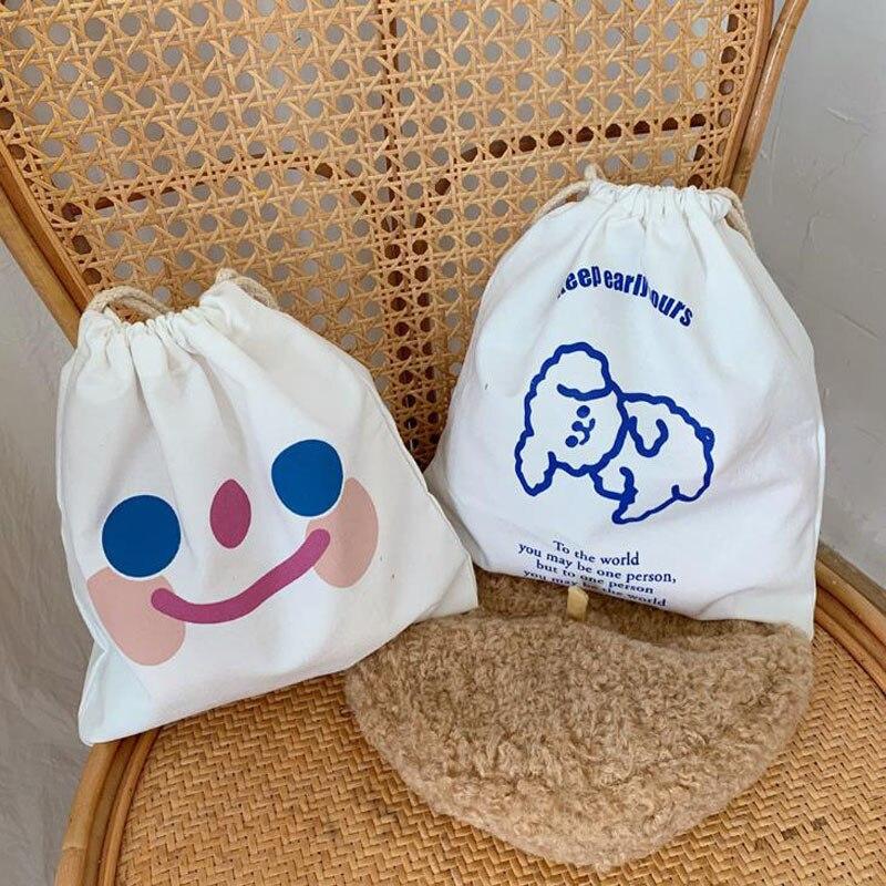 1 Pcs Cute Smile Face Dog Bear Printing Pencil Case Cosmetic Bags Large Capacity Canvas Storage Drawstring Bag Korean Stationery