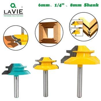"LAVIE 1Pc 1/4"" Shank 6.35MM 8MM 45 Degree Lock Miter Router Bit Tenon Milling Cutter Woodworking Tool For Wood Tools MC01 MC"