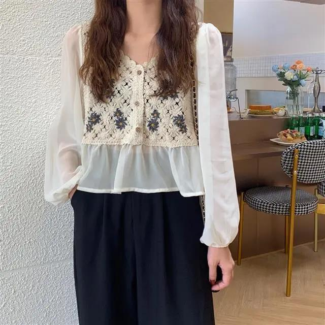 New White Vintage Embroidery Chiffon Blouses Women Sexy Puff Sleeve Tops Elegant Lady Ruffles Shirts Fall Blusas Mujer Plus Size 8