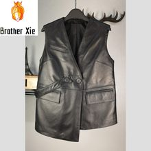 100% Real Leather Vest Women Designer Irregular Short Sheepskin Sleeveless Jacket Brand OL Style Double Breasted Black Waistcoat(China)