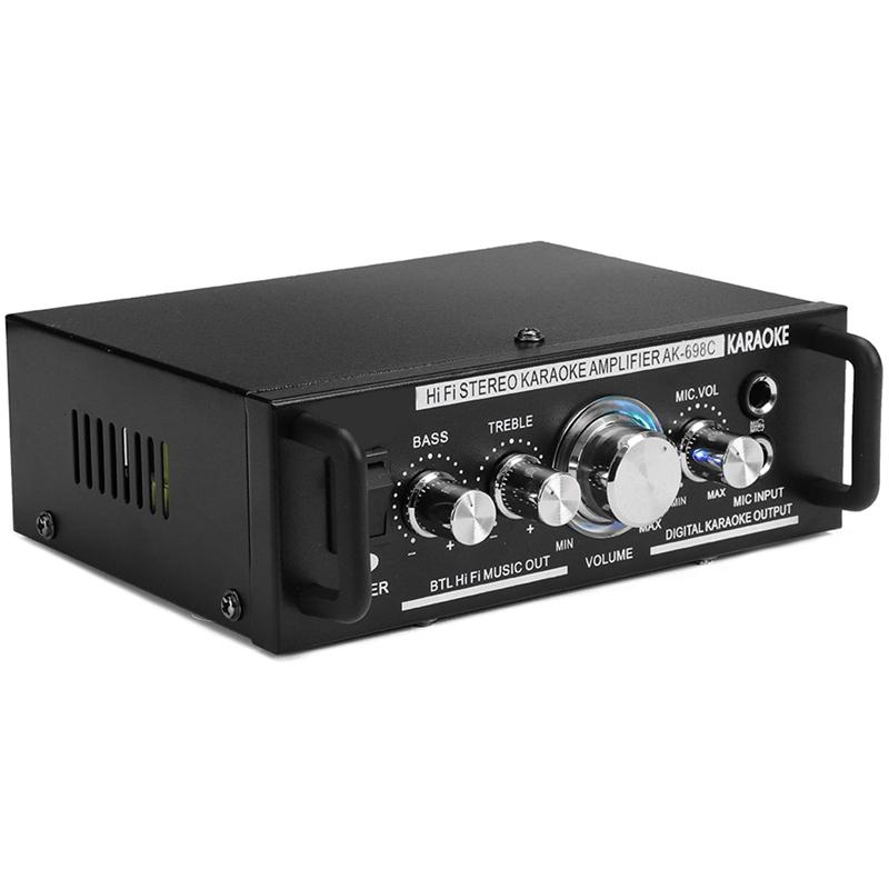 12V/220V 600W 2 Mic Stereo Speaker Mini Car Home Bass Power Amplifier HiFi MP3 Booster AK-698C EU Plug