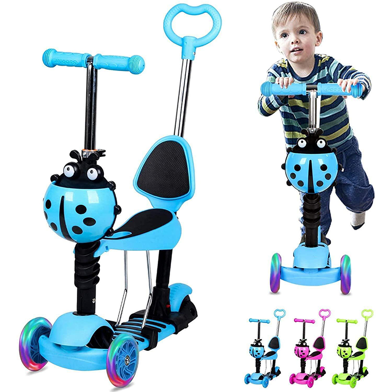 Children Scooter 3 Wheels 5 in 1 Scooter Adjustable Height Skateboard Kick Scooter with Flashing LED Wheels for Kids Sport Toys