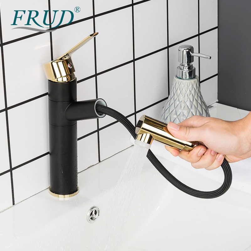 FRUD wyciągnij umywalka kran umywalka do łazienki kran pojedynczy uchwyt gorący kran z zimną wodą nablatowa wodospad bateria do łazienki złoty czarny