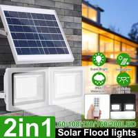 2Pcs/set 100 LED Solar Flood Light with Remote Control Dimmable Timer Waterproof IP65 Outdoor Solar Street Lighting Garden Lamp