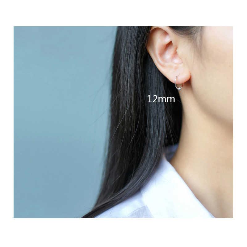 Trusta 100% 925 เงินสเตอร์ลิง 2pcs Small Ball Huggie Hoop ต่างหู Ear Piercing Tragus Helix กระดูกอ่อน DS156