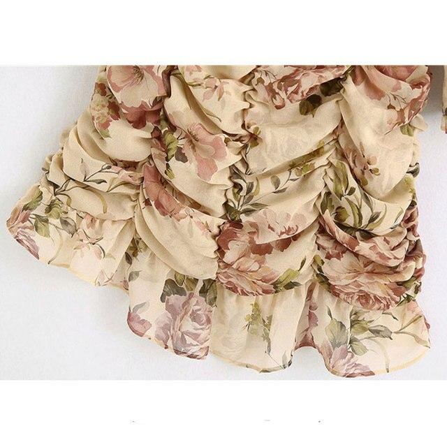 High Quality Women 2021 Fashion Floral Print Ruffled Draped Mini Dress Vintage Lantern Sleeve Back Zipper Female Dresses Vestido 6