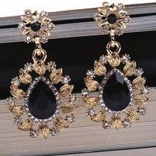 Длинные черные серьги-капли с кристаллами, винтажные геометрические золотые свисающие Стразы, свисающие серьги для женщин, вечерние ювелирные изделия Brincos