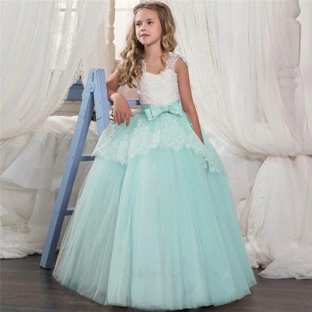 Свадебное кружевное платье в пол для девочек, элегантное платье подружки невесты для девочек, детское длинное платье принцессы, вечернее платье