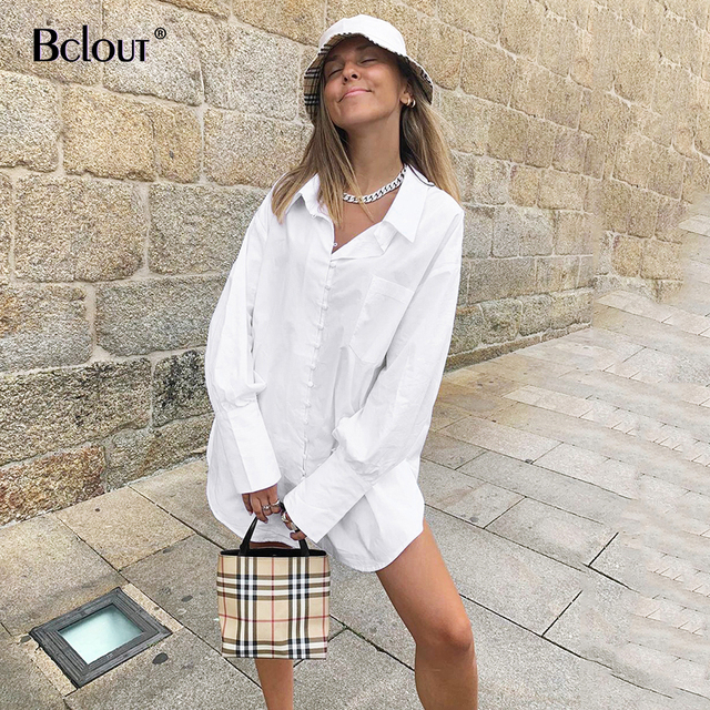 Bclout White Button Up Shirt Blouse Loose Long Sleeve Tunic Office Tops Turn Down Collar Casual Women Top Autumn Cotton Mujer