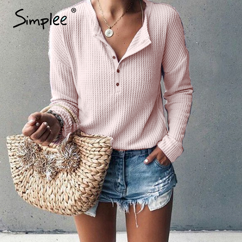 Simplee Casual O Neck Buttons Women Blouse Shirt Long Sleeve Cotton Female White Tops Shirt Spring Summer Office Ladies Blouses