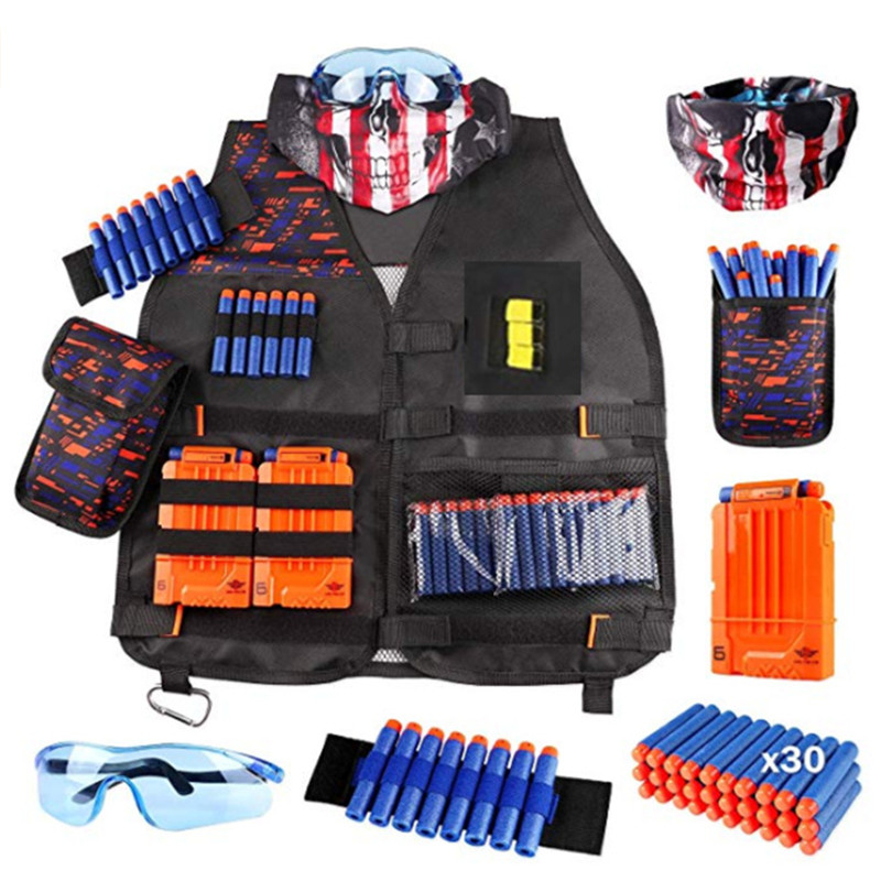 Children Black Tactical Gun Accessories  Waistcoat Ammo Holder Elite Pistol Bullets Toy Clip Darts For Nerf With Mask Goggles