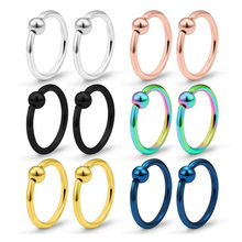 1PC Steel Captive Hoop Bead Rings Lip Eyebrow Nose Nipple Labret Piercings Ear Septum Tragus Helix Piercing Body Jewelry(China)