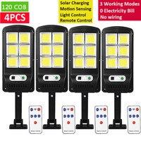 Uds poderosa luz LED Solar 128COB PIR Sensor de movimiento de la lámpara de calle inalámbrico de carga Solar impermeable lámpara de jardín remoto al aire libre